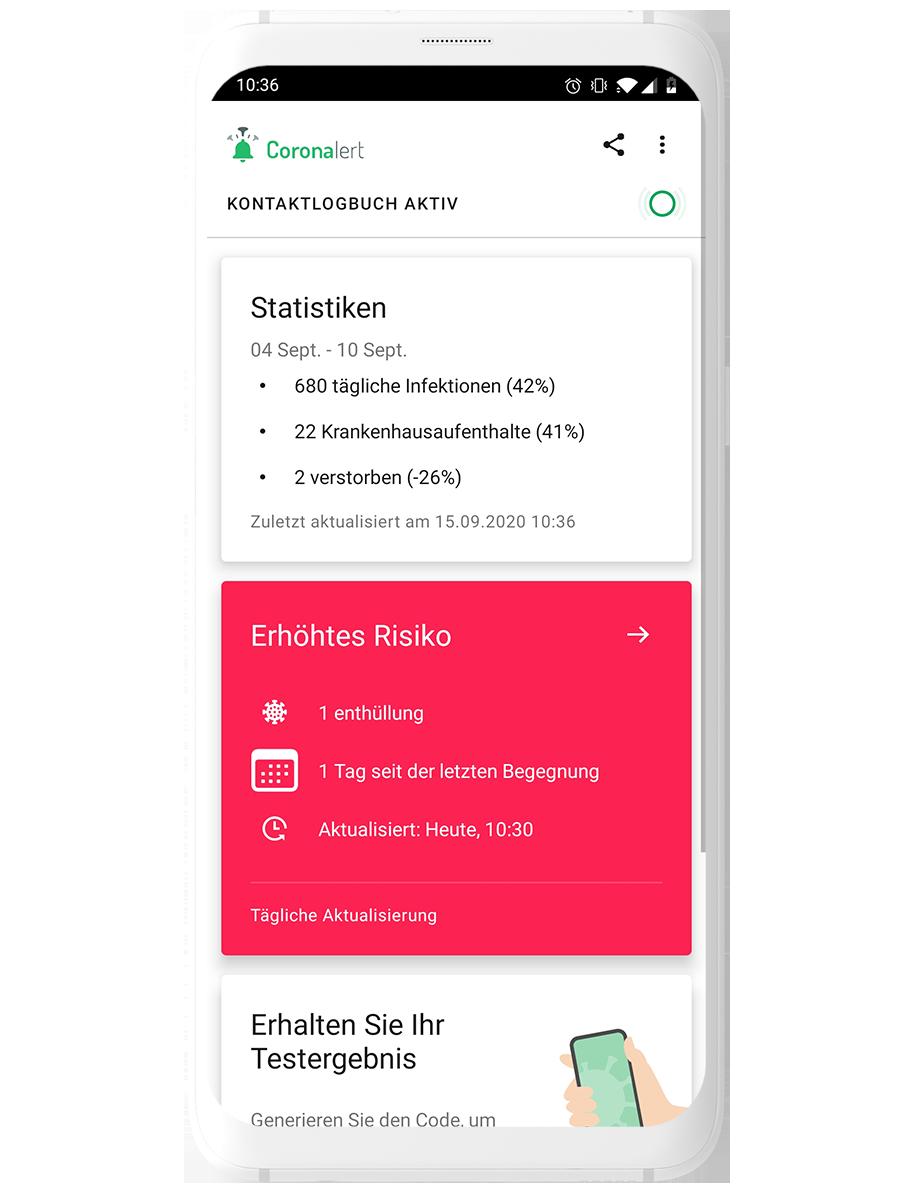 Bildschirmfoto der Coronalert app