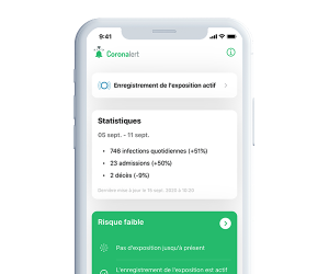 Capture d'écran de l'application Coronalert