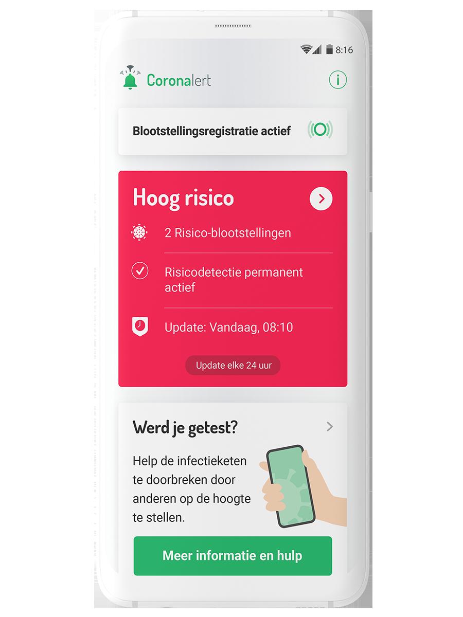 Schermafbeelding van de Coronalert app