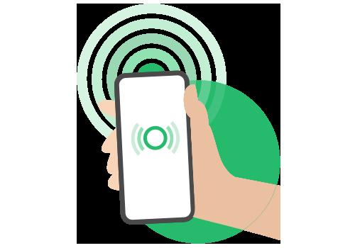 Illustratie van actieve Bluetooth