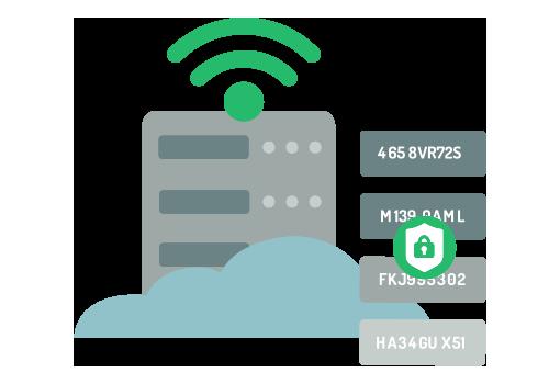 Illustratie van gecodeerde gegevens die naar een beveiligde server worden verzonden.