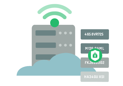 Illustration of encrypted data sent to a secure server