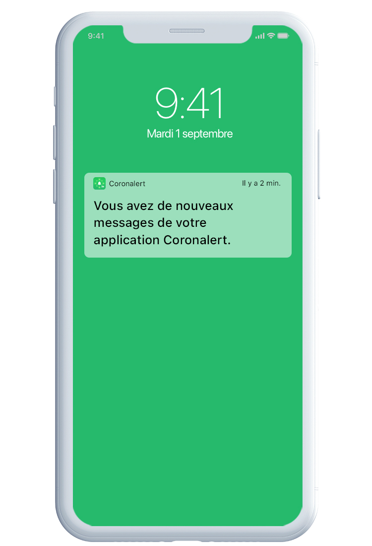 Illustration d'une notification de l'application Coronalert